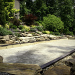 residential, hardscape, seat wall, natural sandstone, retaining wall, recreation area