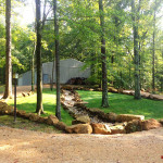 Dry Creek bed, sandstone boulders, hardscape, drainage design, Circular drive