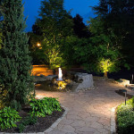Softscape, Hardscape, Night, Nightscape, Fountain, Water Feature, Lighting, Walkway Lighting, Softscape Lighting, Rock Fountain, Bloomington
