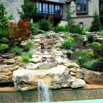 hardscape, water feature, commercial landscape, naturalistic