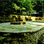 natural stone retaining wall, seat wall, fire pit, residential