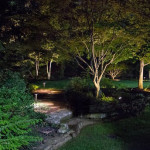 Landscape, Hardscape, Lighting, Pathway Lighting, Softscape Lighting, Bloomington, Residential, Night, Nightscape, Backyard, Stone Wall, Stone Steps, Retaining Wall, Residential Garden