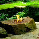 hardscape, focal design element, fire detail, unique fire pit