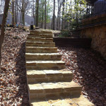 original hardscape, old stone steps, lake cabin, nashville indiana,