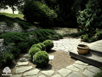 hardscape, natural stone wall, juniper, boxwood, stepping stone, back yard, residential