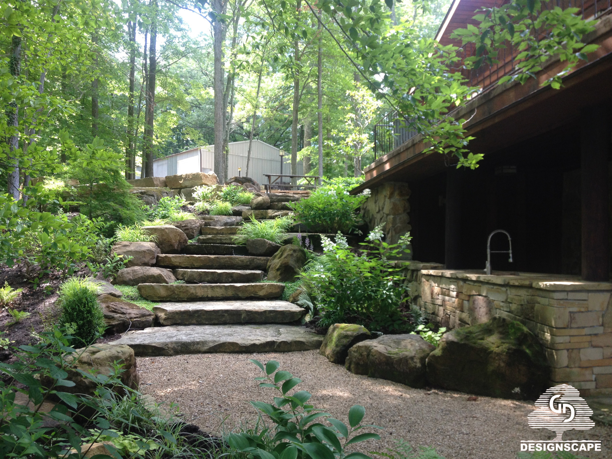 shade garden, hardscape, sandstone steps, natural stone staircase