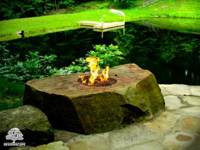 hardscape, focal design element, fire detail, unique fire pit