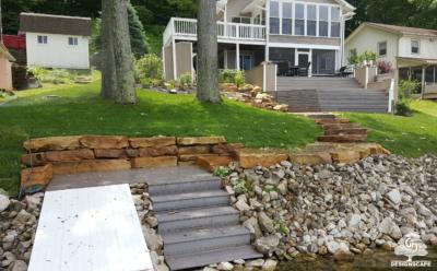 Lake Front, Composite Deck, Sandstone Wall, Sandstone Steps