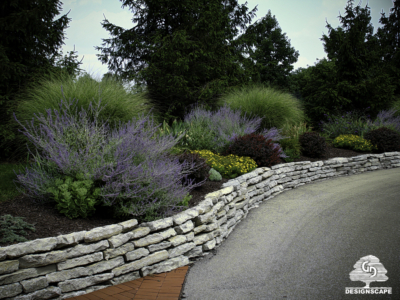 designscape, landscaping, hardscaping, design, landscape architect, natural stone, planting bed, retaining walls, field limestone wall